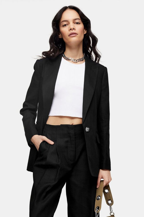 Black Herringbone Blazer