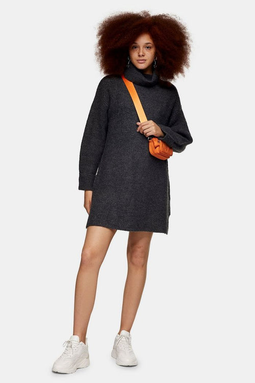 Charcoal Grey Plaited Funnel Neck Knitted Dress