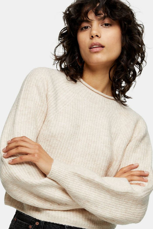 Ribbed Cropped Crew Neck Knitted Jumper