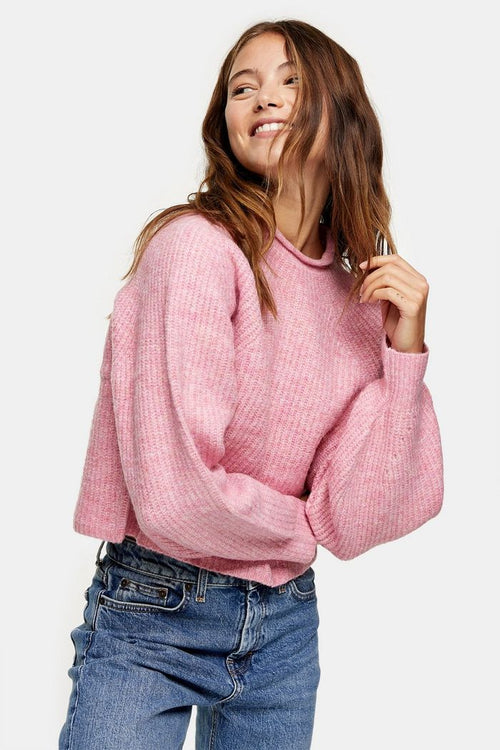 Pink Cropped Knitted Jumper