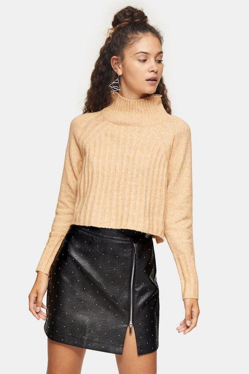 Camel Ribbed Cropped Funnel Neck Knitted Jumper