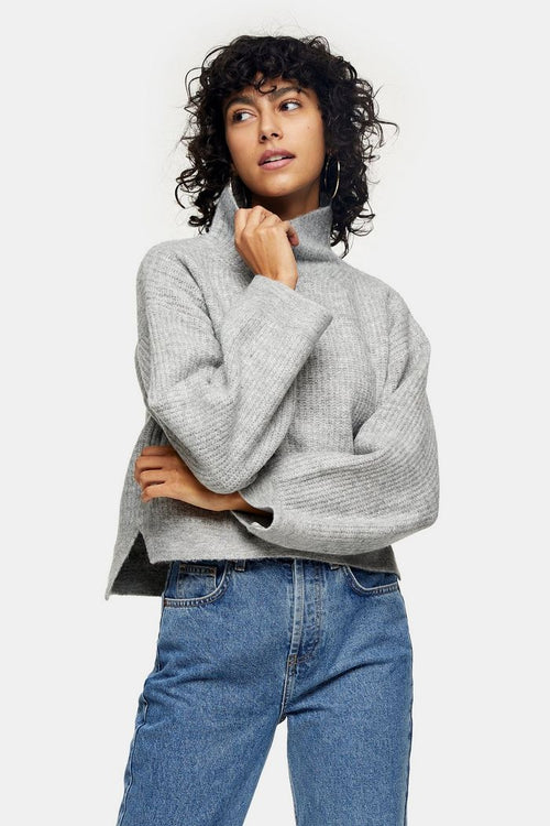Grey Marl Cropped Funnel Neck Knitted Jumper