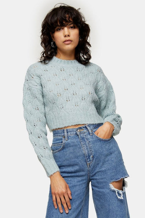 Blue Stitch Cropped Knitted Jumper