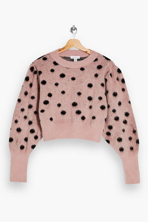 Pink And Black Spot Knitted Jumper