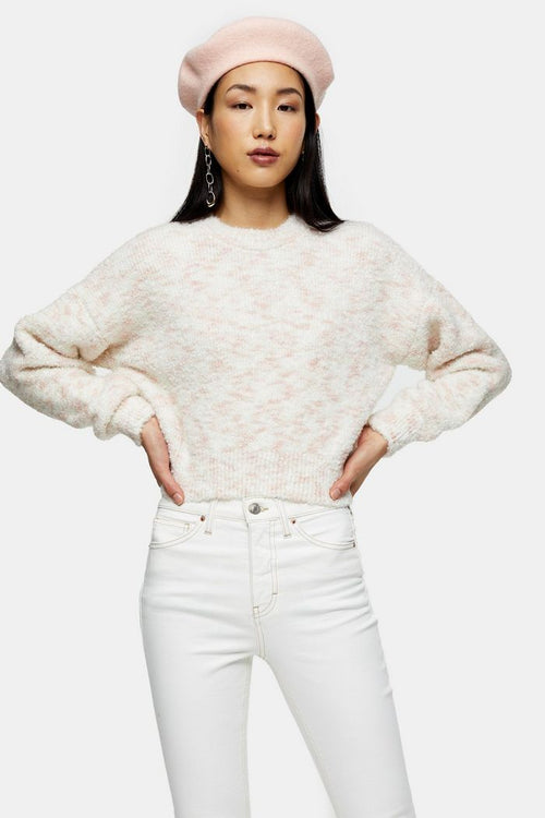 Pink Boucle Knitted Jumper