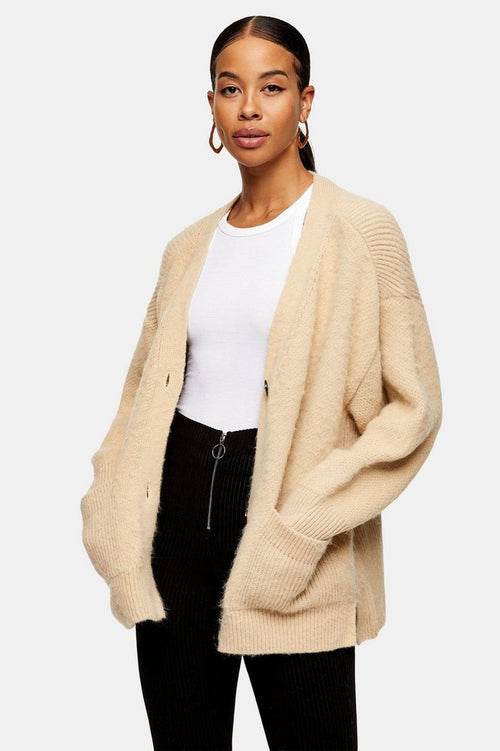 Camel Brushed Ribbed Midi Knitted Cardigan