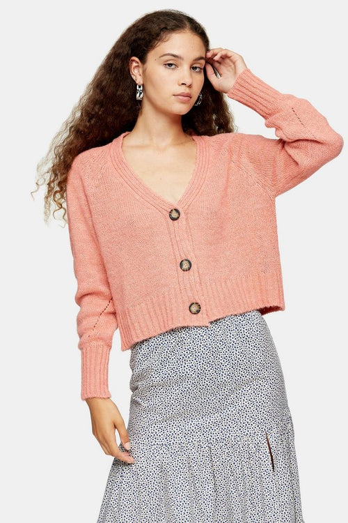 Coral Cropped Knitted Cardigan