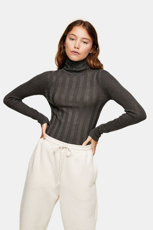 Charcoal Grey Mixed Ribbed Roll Neck Jumper