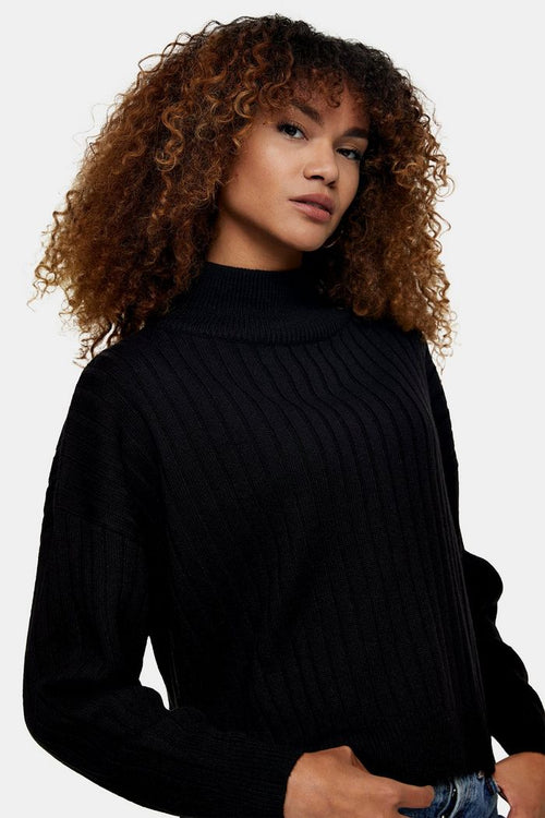 Black Knitted Top With Wool