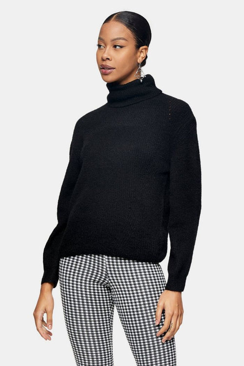 Black Roll Neck Knitted Jumper