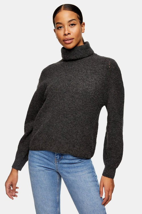 Charcoal Grey Roll Neck Knitted Jumper