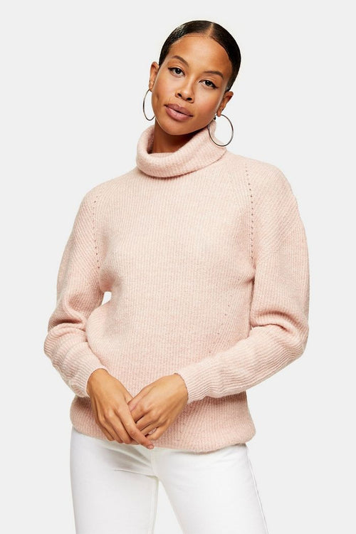 Pale Pink Roll Neck Knitted Jumper