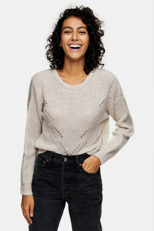 Oatmeal Stitch Knitted Jumper