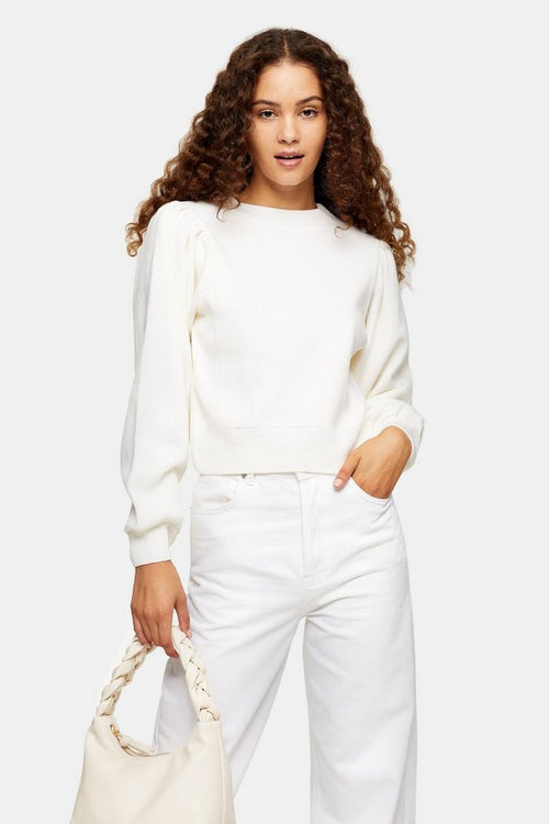 Ivory Exaggerated Sleeve Knitted Sweatshirt Jumper