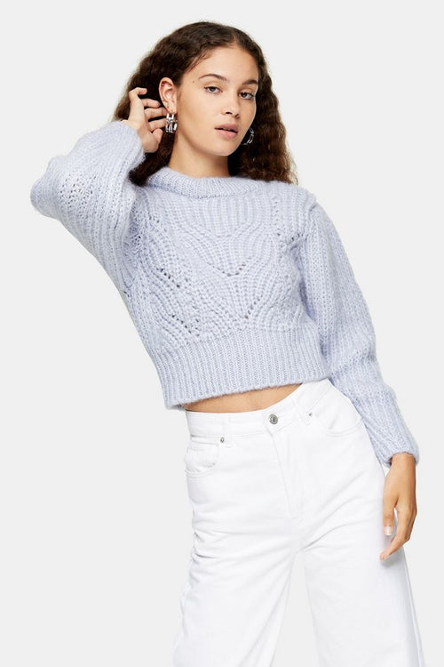 Lilac Mixed Sleeve Knitted Jumper