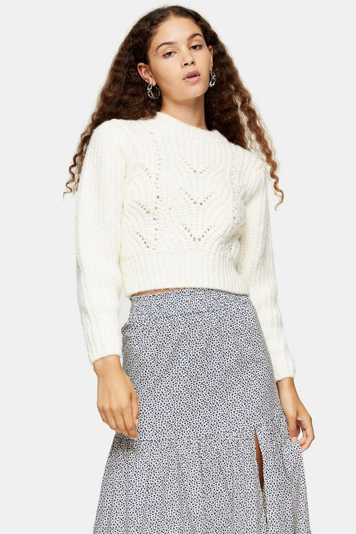 Ivory Mixed Sleeve Knitted Jumper