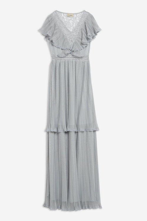 **Pleated Tulle and Lace Maxi Dress by Lace & Beads