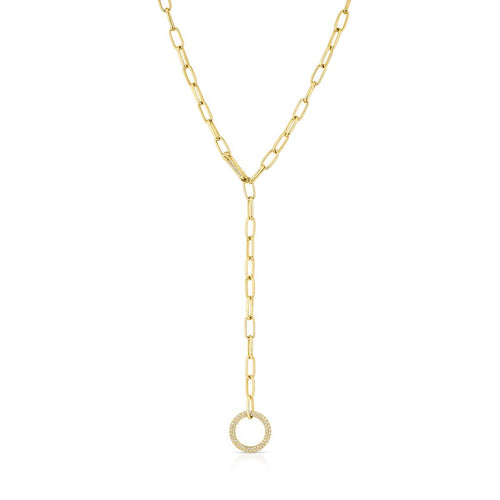 14KT Yellow Gold Diamond Open Circle Chain Link Lariat Necklace