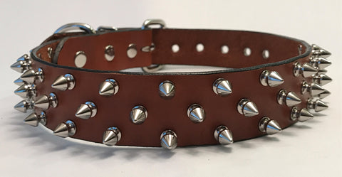 "1 1/2"" Brown Spiked Leather Collar L 20""-26"""