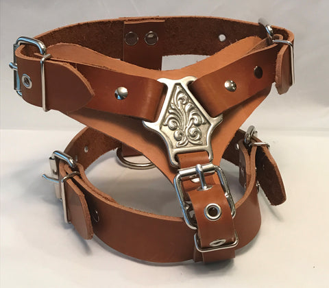 "1 1/2"" M- Tan Leather Dog Harness"