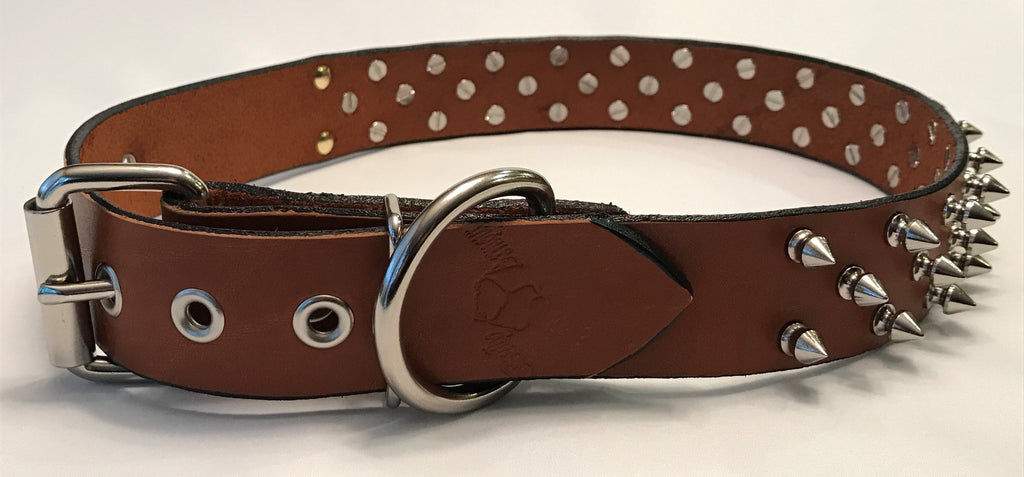 "1 1/2"" Spiked Leather Collar XL 25""-31"