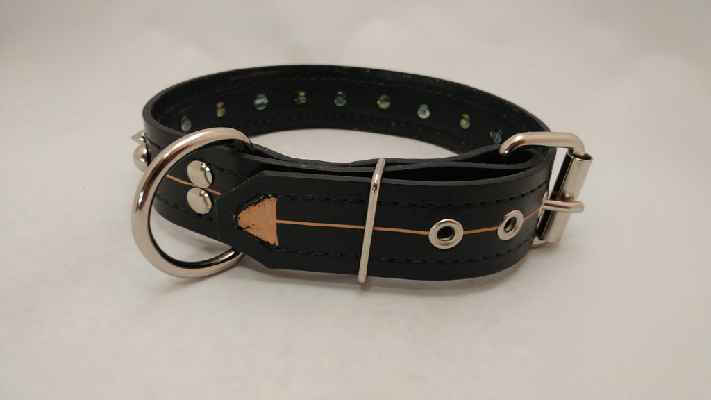 "1 1/2"" Spiked Leather Collar M 18""-22"""