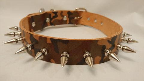 "1 1/2"" Spiked Leather Collar L 20""-26"""