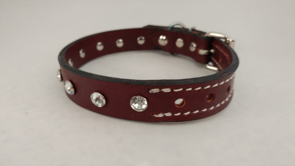 "1"" Leather Dog Collar XS 12""-17"""