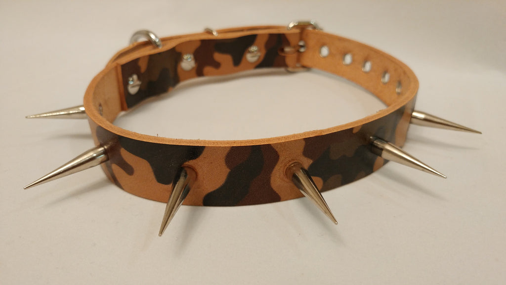 "1"" Spiked Leather Dog Collar S 16""-22"""