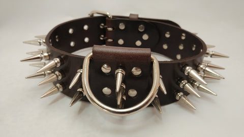 "2"" Spiked Leather Dog Collar XL 25""-30"""