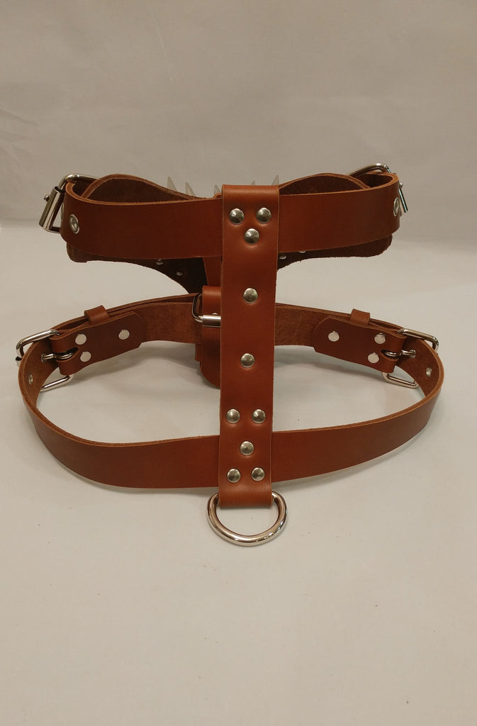 "1 1/2"" L- Tan Leather Dog Harness"