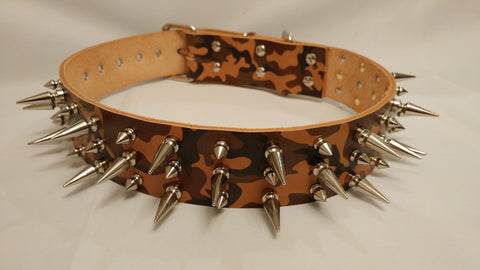 "2"" Camouflage Spiked Leather Dog Collar XL 26""-32"""