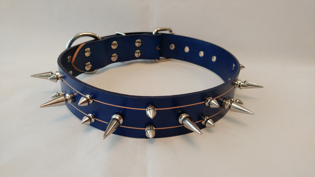 "1 1/2"" Blue Spiked Leather Collar L 21""-26"""