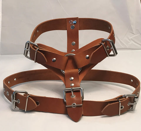 "1 1/2"" XL- Brown Leather Dog Harness"