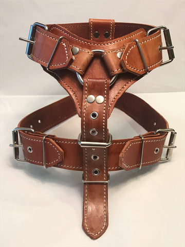 "1 1/2"" XL Brown Leather Dog Harness"