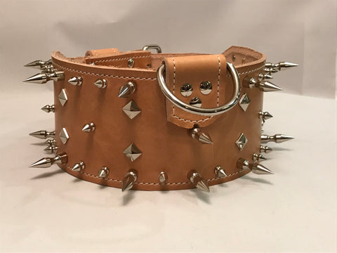 "4"" Leather Spiked Collar XL 25""-29"""