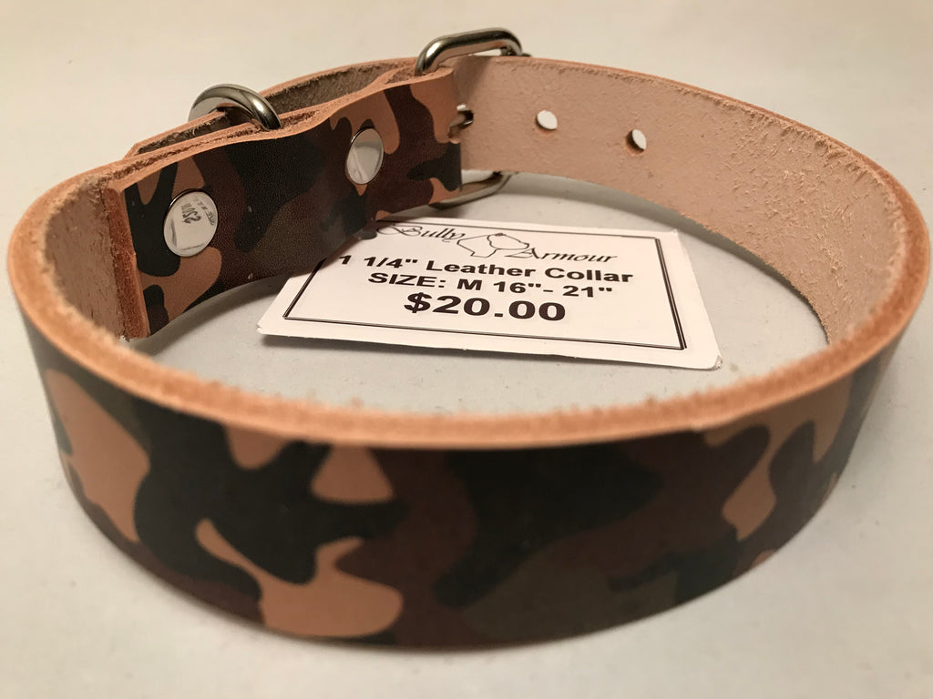 "1 1/4"" Camouflage Leather Dog Collar S 16""-21"""