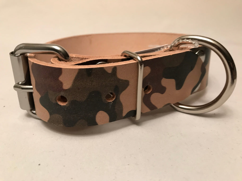 "1 1/2"" Camouflage Leather Dog Collar S 16""-21"""