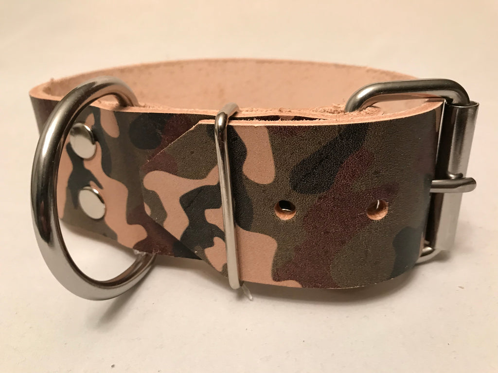 "2"" Camouflage Leather Dog Collar S 16""-21"""