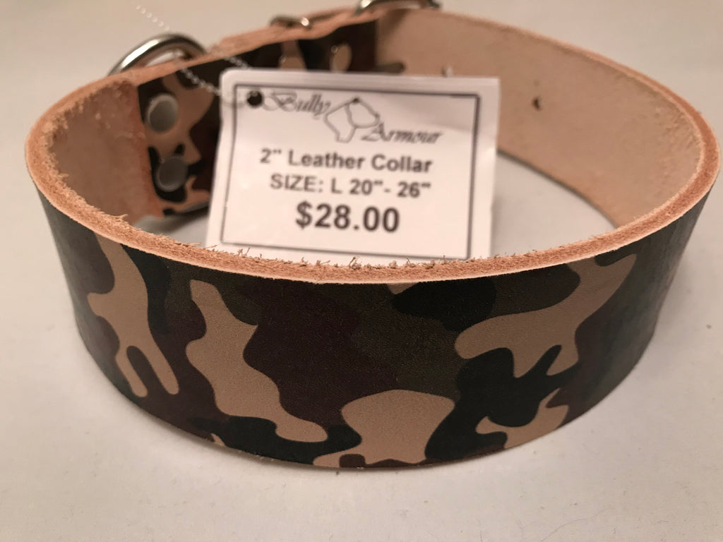 "2"" Camouflage Leather Dog Collar L 20""-26"""