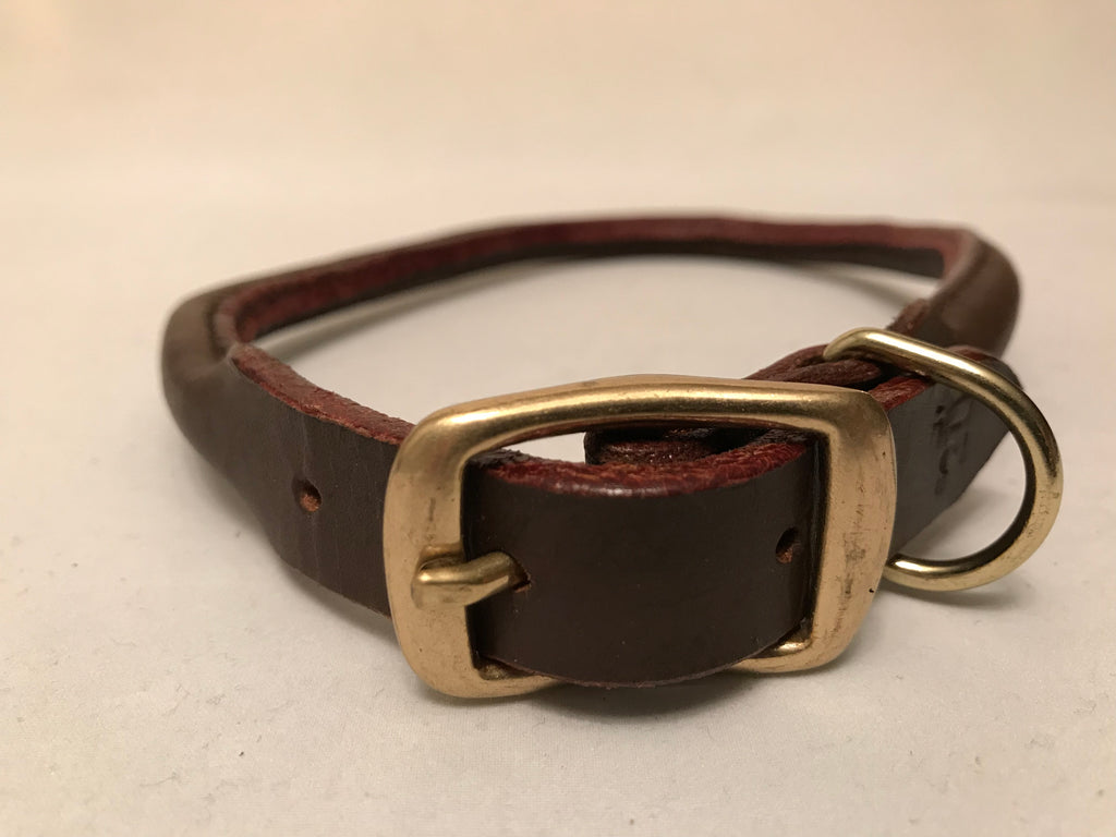 "3/4 Brown Leather Collar S 16""-18"""
