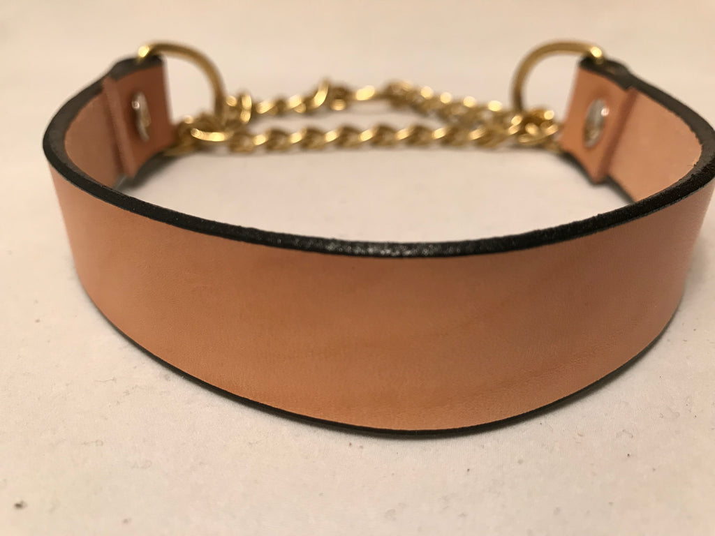 "1"" Martingale Tan Leather Dog Collar S 14""-21"""