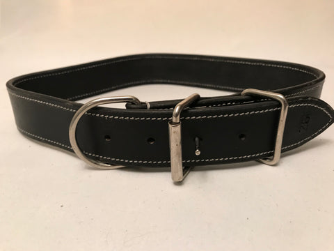 "1 1/4"" Black Leather Dog Collar L 22""-26"""