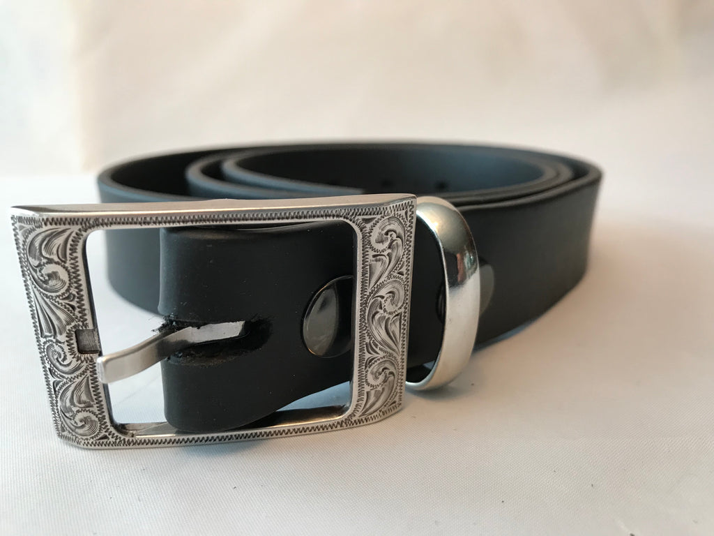 "Black Brahma Webb® Leather Belts 1 1/4"" Wide"
