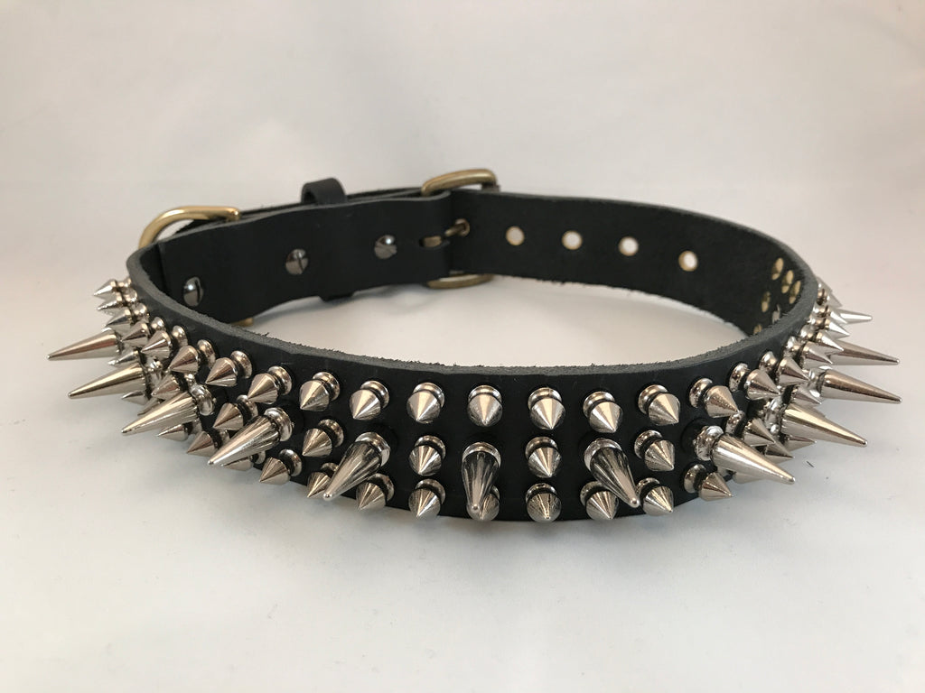 "1 1/2 Black Spiked Leather Collar M 20""-25"""