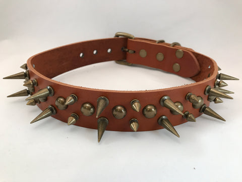 "1 1/2"" Spiked Leather Collar L 21""-25"""