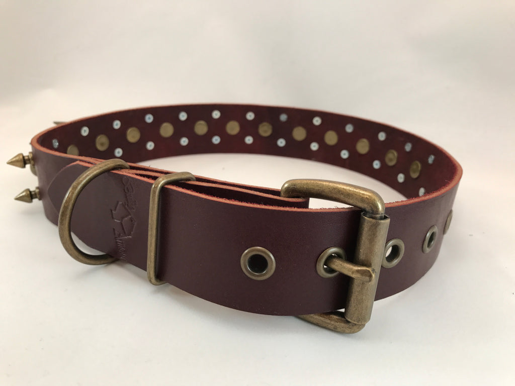 "1 1/2"" Spiked Leather Collar L 22""-26"""