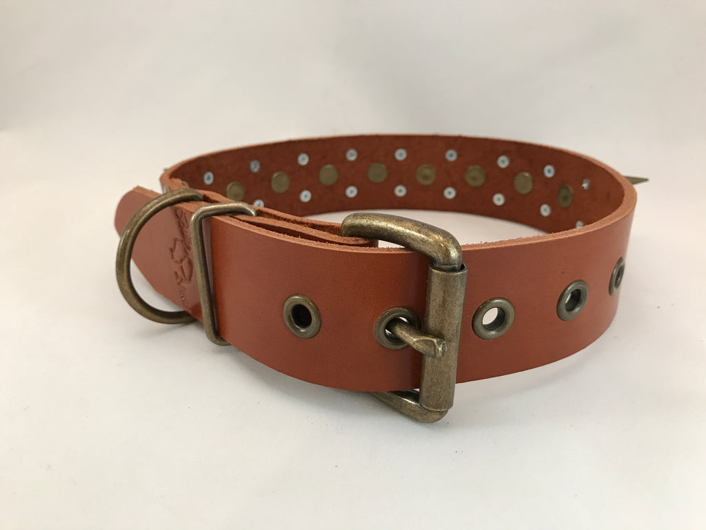 "1 1/2"" Spiked Leather Collar M 17""-21"""