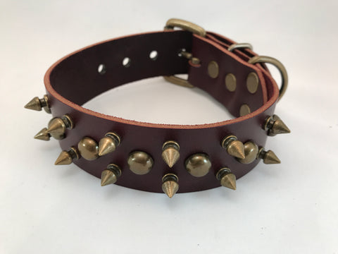 "1 1/2"" Spiked Leather Collar XS 13""-17"""