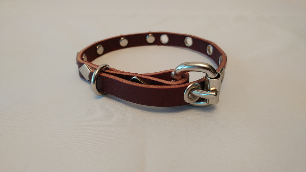 "1/2"" Leather Dog Collar XXS 8""-12"""